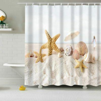 Fabric Shower Waterproof Ocean Decor Seashell Bath