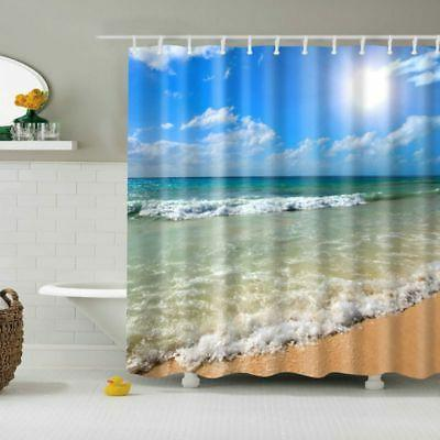 Fabric Waterproof Beach Seashell Bath