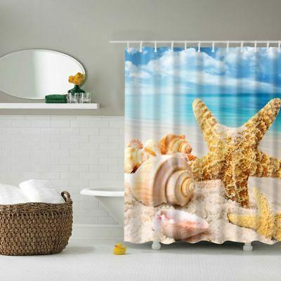 Fabric Shower Waterproof Ocean Decor Seashell