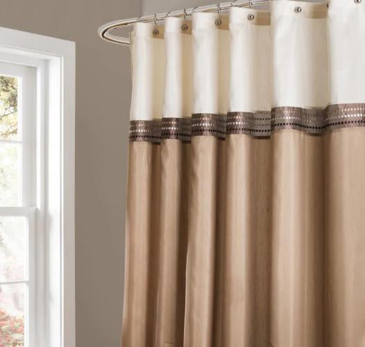 Fabric Shower Curtain Beige Ivory  Bathroom Accessories Hous