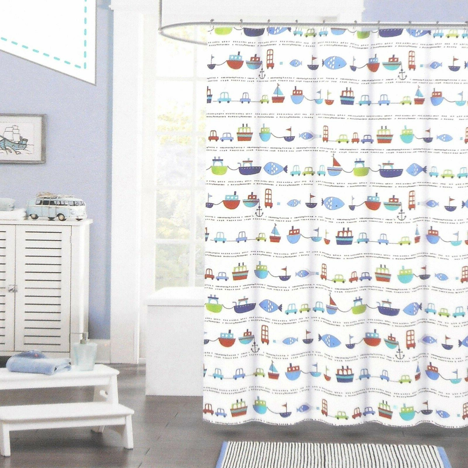 fabric shower curtain cars boats fish red