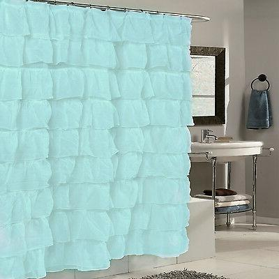 "Fabric Shower Curtain 70"" x 72"" Elegant Crushed Voile Ruffle"
