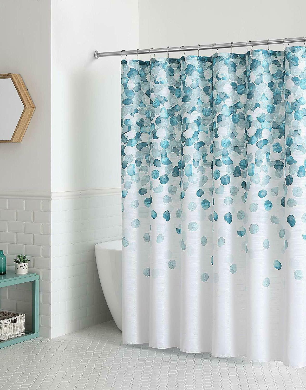 fabric shower curtain geometric cascading pattern blue