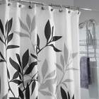 InterDesign Fabric Shower Curtain Gray Leaves 35620 bamboo d