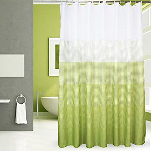 fabric shower curtain green polka