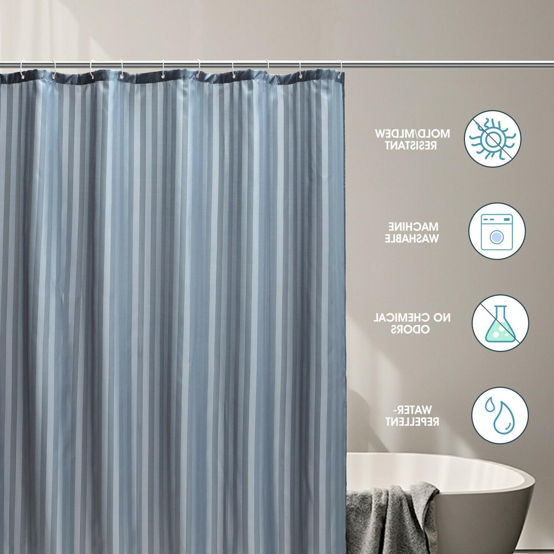 "Fabric Shower Mildew Resistant Microfiber Hooks 72"""
