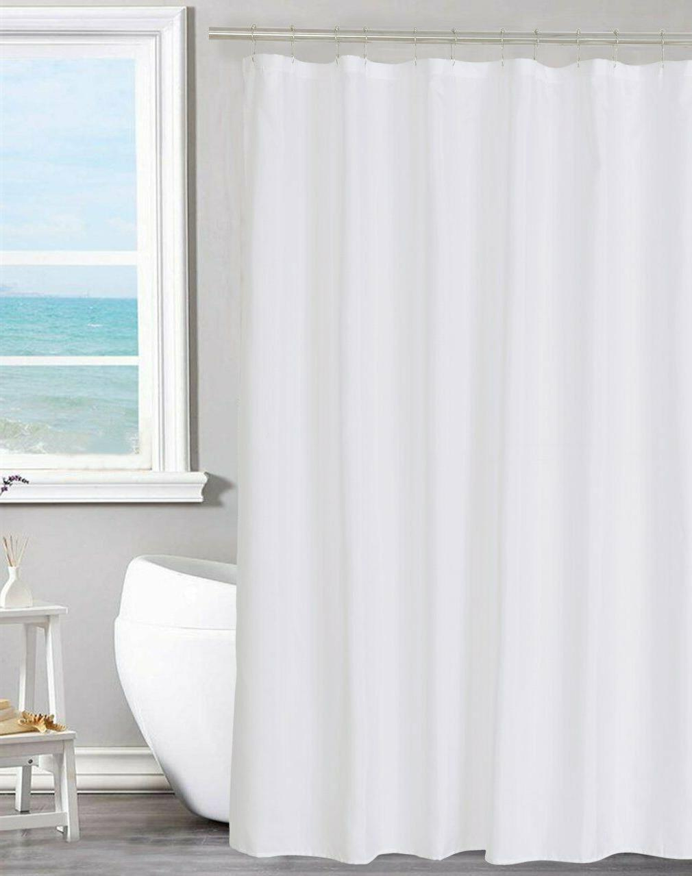 fabric shower curtain liner solid white pvc