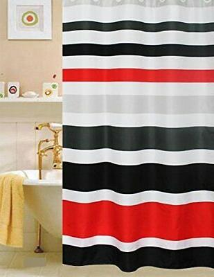 Fabric Shower Curtain,multi-color Striped Black /Red