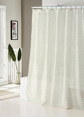 fabric shower curtain natural linen blend white