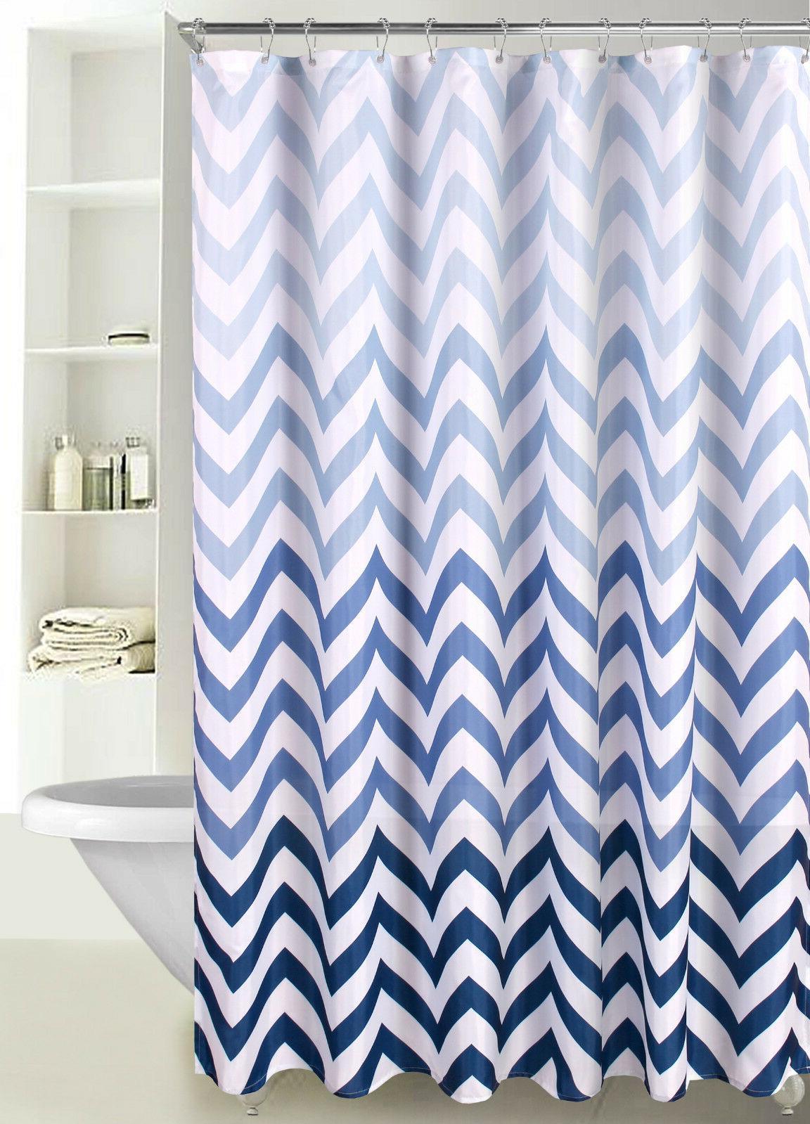 fabric shower curtain ombre zig zag chevron