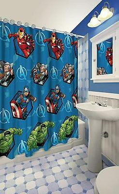 All New Fabric Marvel Shower Curtain Set with 12 Matching Ho