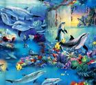 Fabric Shower Curtain Set Underwater Bathroom Dolphin Paradi