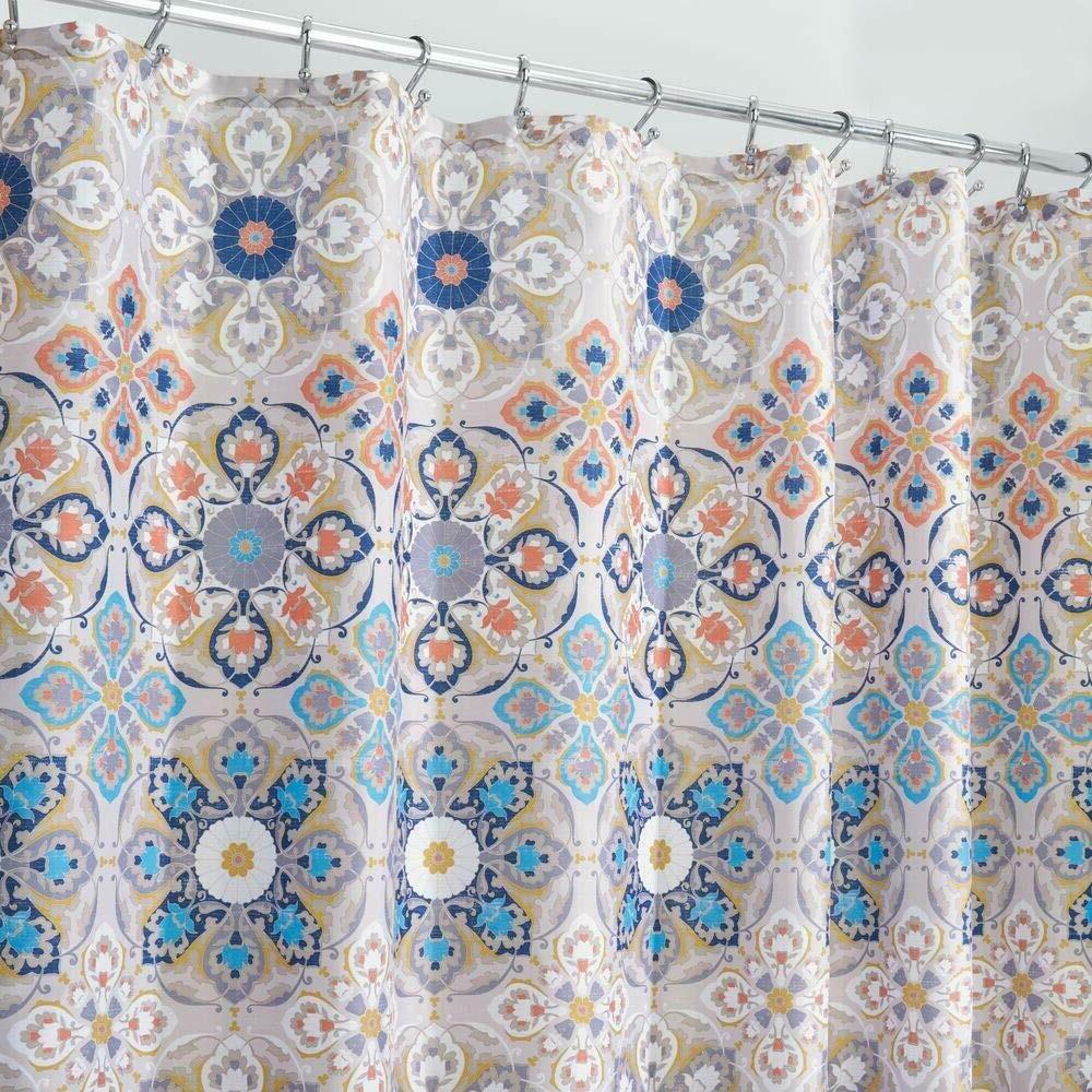 fabric shower curtain tan blue medallion geometric