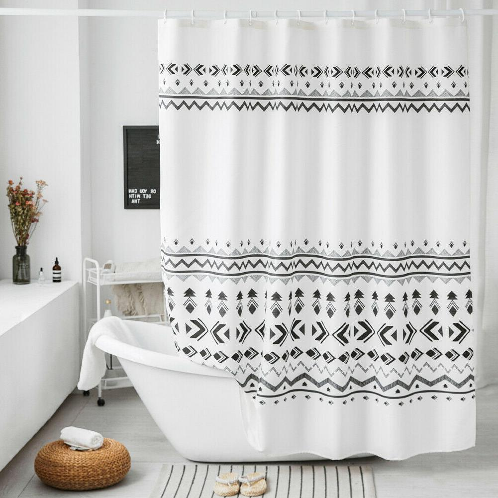 "Fabric Shower Curtain, Vertical Wave Line, Grey White, 72""x7"