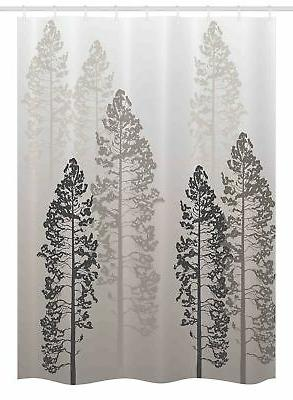 Ambesonne Farmhouse Decor Stall Shower Curtain, Pine Trees i