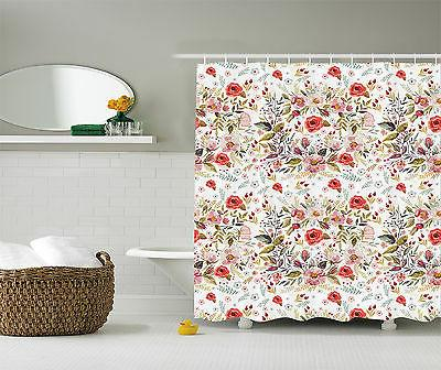 Floral Decor Collection Polyester Fabric Shower Curtain Set