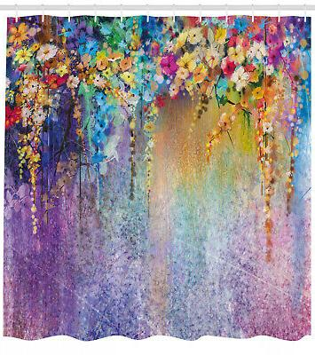 floral fabric shower curtain blooming flowers print