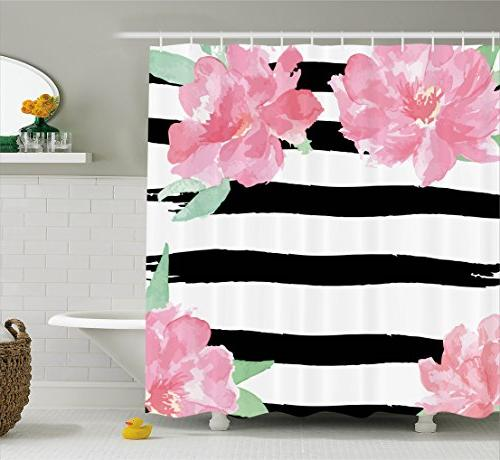 floral shower curtain brush strokes