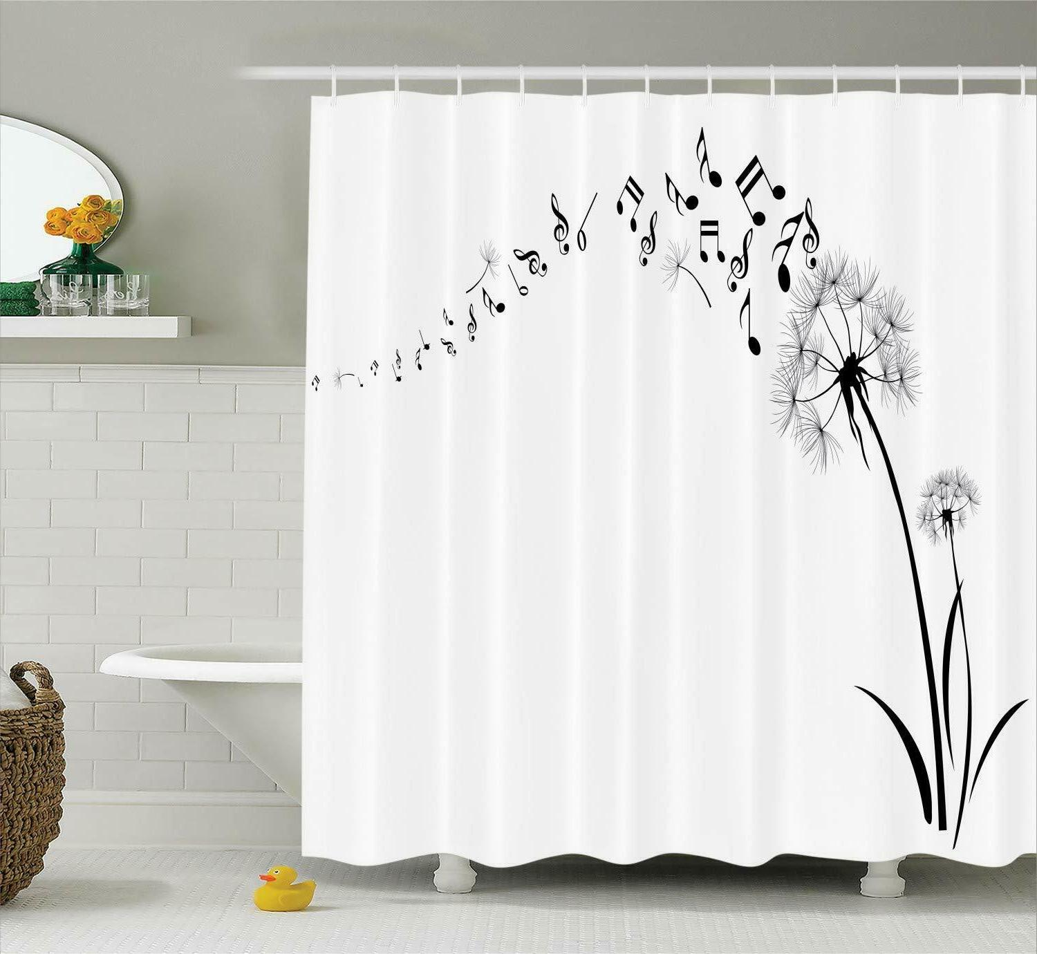 Ambesonne Floral Shower Curtain Set Music Decor Dandelion