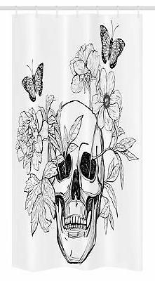 Floral Stall Shower Curtain Skull with Butterflies Print for
