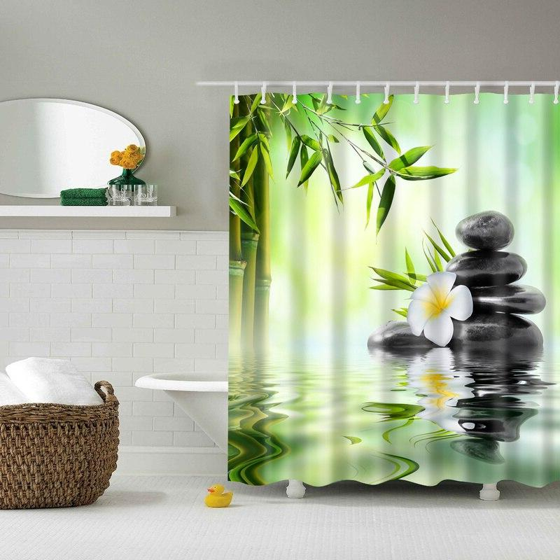Forest Trees Printed 3d Bath <font><b>Curtains</b></font> Waterproof Fabric Washable <font><b>Curtain</b></font> Accessories