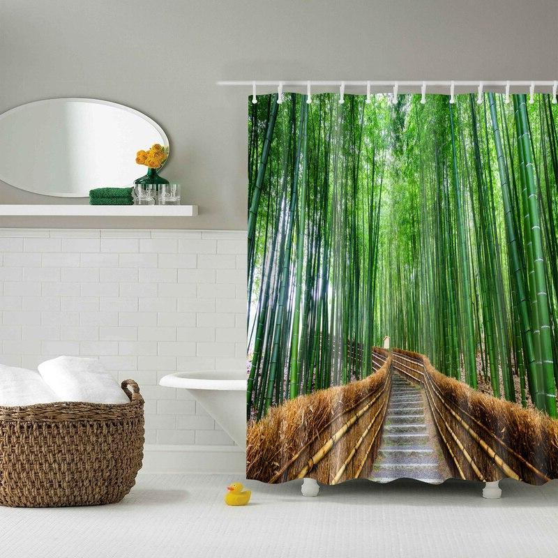 Forest 3d Bath <font><b>Curtains</b></font> Waterproof Fabric <font><b>Curtain</b></font> with Accessories