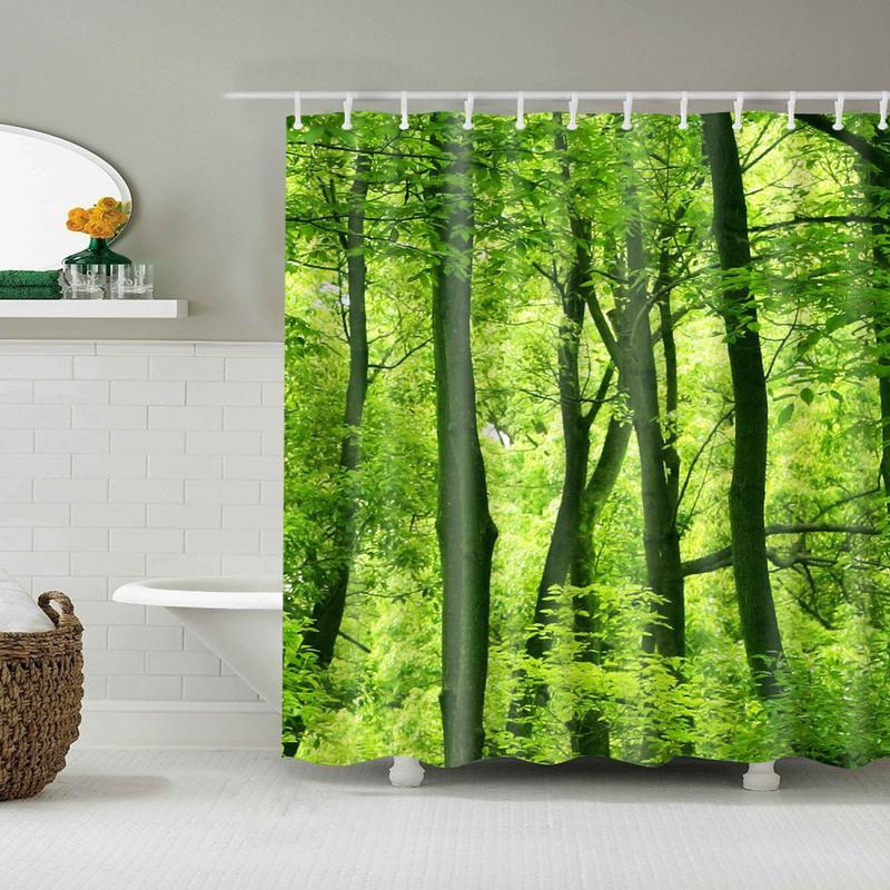 Forest Trees Printed 3d Bath <font><b>Curtains</b></font> Fabric Washable Bathroom <font><b>Shower</b></font> <font><b>Curtain</b></font> Screen Accessories