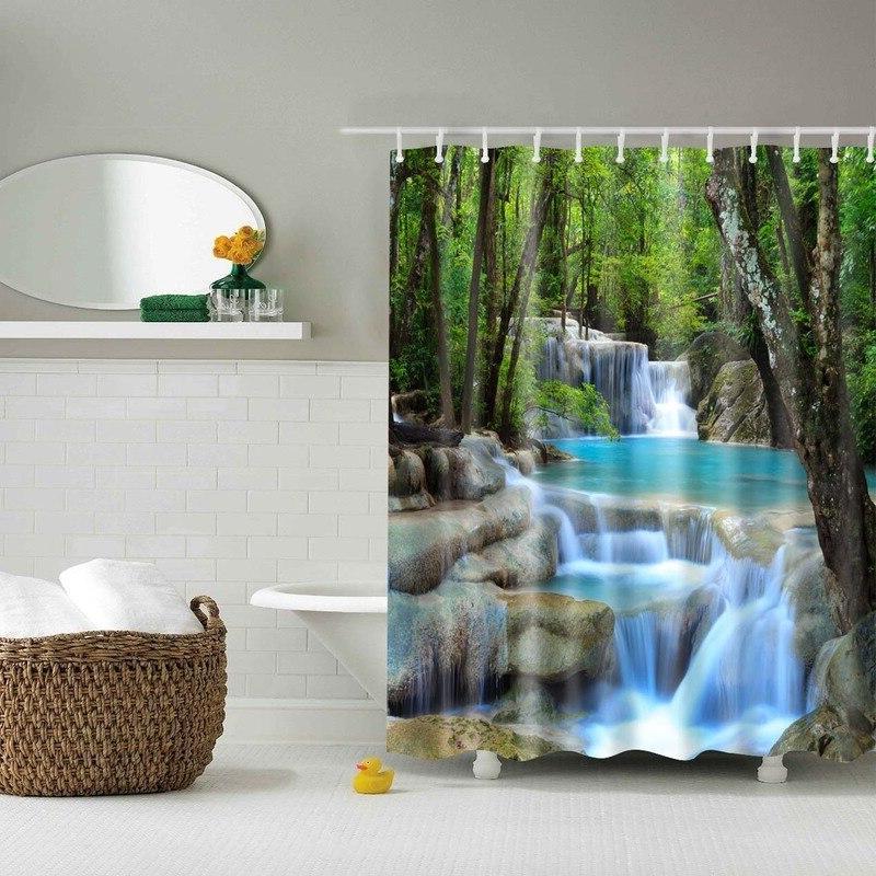 Forest Trees 3d Bath <font><b>Curtains</b></font> Fabric <font><b>Shower</b></font> <font><b>Curtain</b></font> Accessories