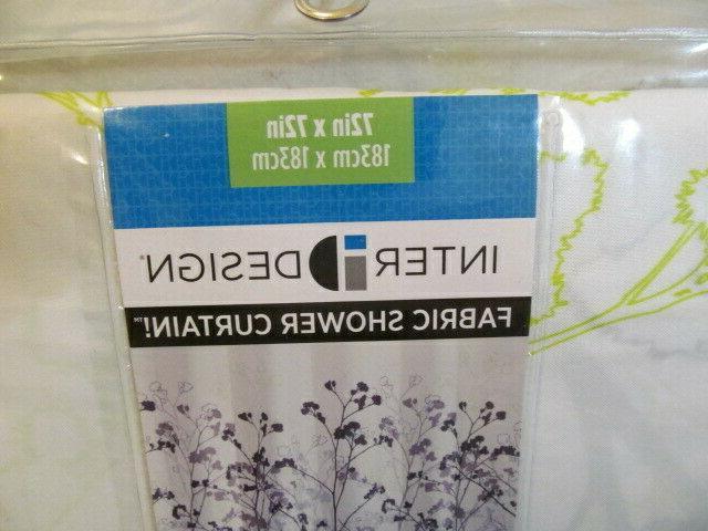 """InterDesign Shower Curtain, 72 72"""", Reinforced Buttonholes"""