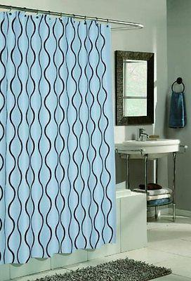 Geneva Fabric Shower Curtain Design With Flocking 70x72 Inch