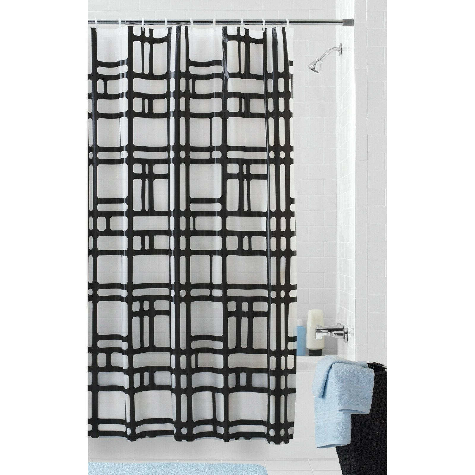 Geometric Patterned Frosted Background Shower Curtain, Moder