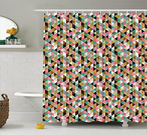 geometric shower curtain backdrop print