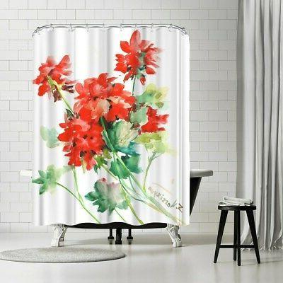 Americanflat 'Geranium Red' Shower Curtain Red