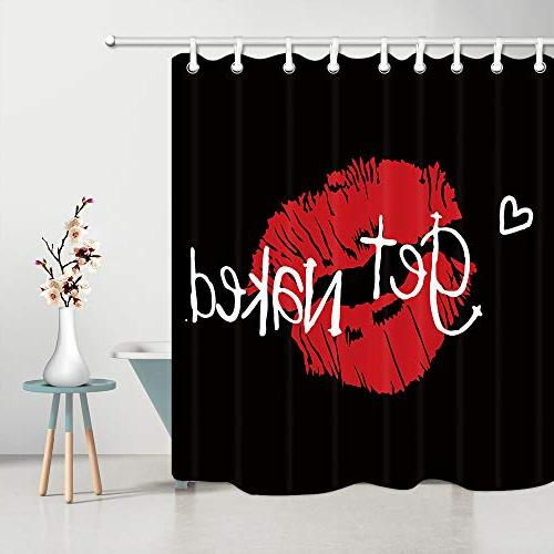 Curtain, Lip Prints Black Polyester Fabric Curtains with Hooks X 70L