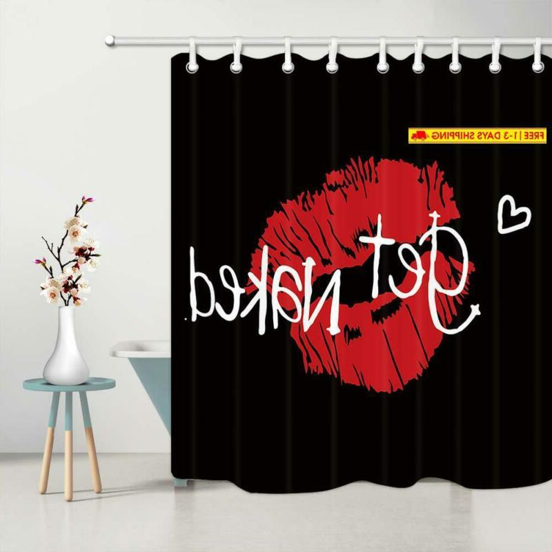 Curtain, Red Prints On Polyest