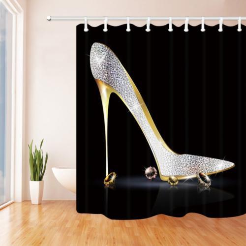 KOTOM Girly Decor Shower Curtain, Heel Shoe