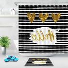Gold Hearts Sparkly Shower Curtain Black and White Striped B