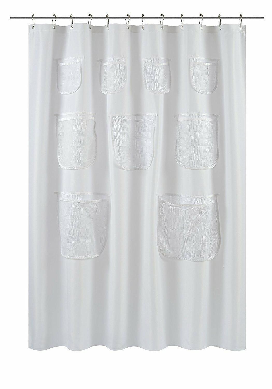 GoodGram Fabric Shower Curtain Liners Mesh Pockets - Assorted