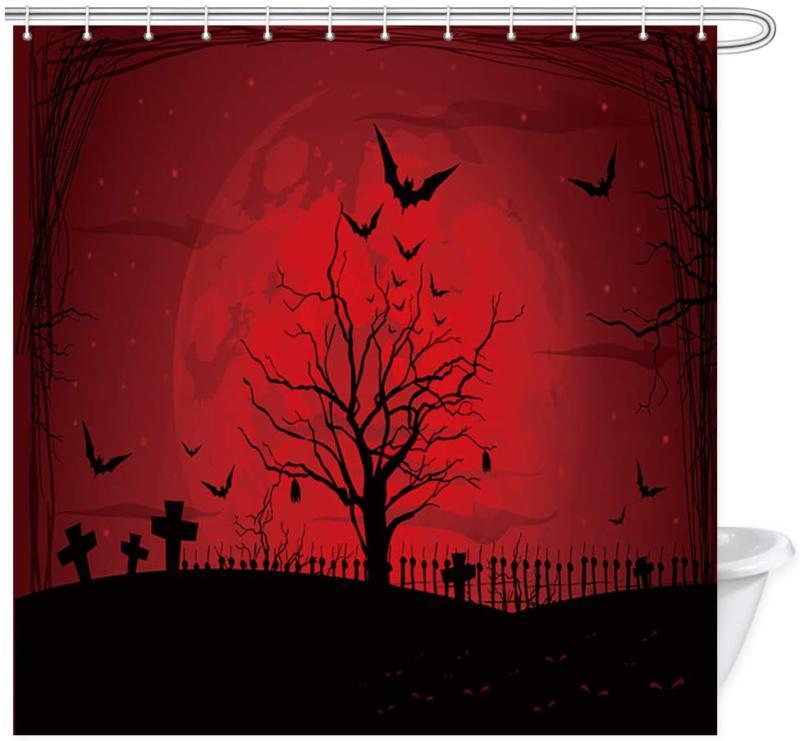 Kotom Gothic Decor Shower Curtain, Scary Halloween With Moon