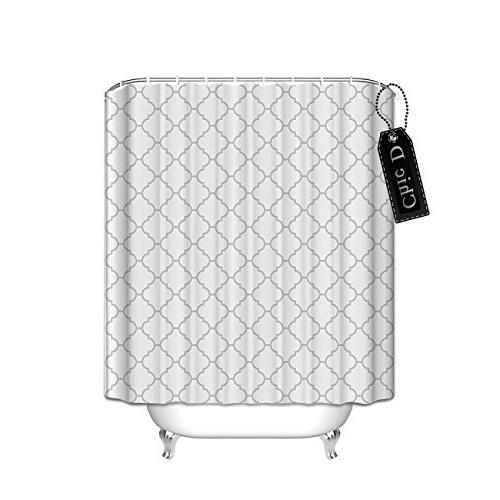 gray geometric patterns shower curtain