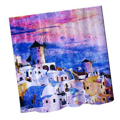 Greece Shower Curtain Water Washable