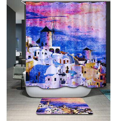 Greece Print Curtain Water Resistant Washable