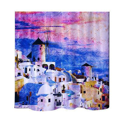greece print shower curtain water resistant 180x180cm
