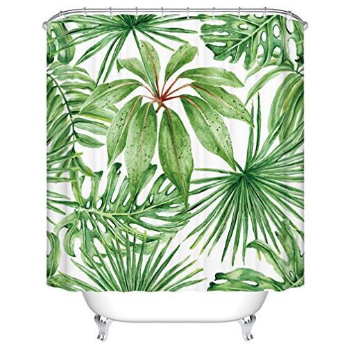 green leaf shower curtains