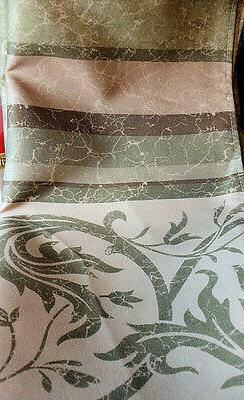 Green Marble Affect Fabric Shower Curtain Scroll Vine Design