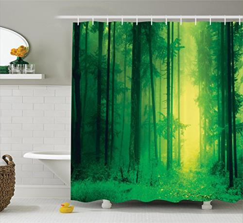 green shower curtain tree mystic