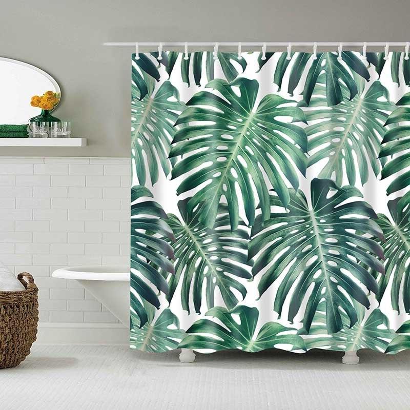 Green Plants <font><b>Curtain</b></font> Bathroom Waterproof <font><b>Shower</b></font> <font><b>Curtain</b></font> <font><b>Curtains</b></font>