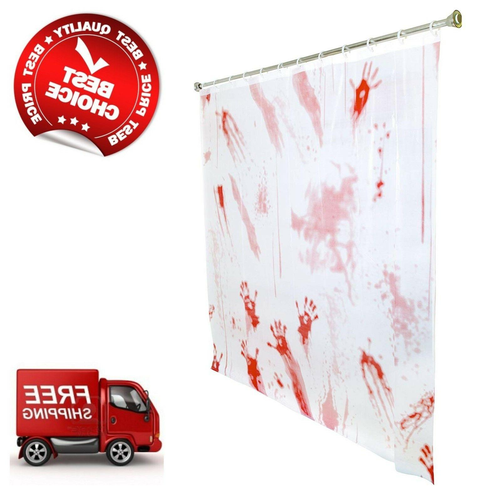 "Halloween Bloody Hand Shower Curtain Double-Sided 71"" x 71"""