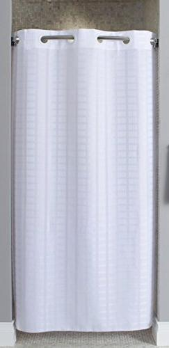 HOOKLESS HBH43LIT01SX Shower Curtain, White,74 In L,42 W