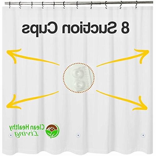 Clean Healthy PEVA Shower Curtain magnets to it in 70 x 71 long - White